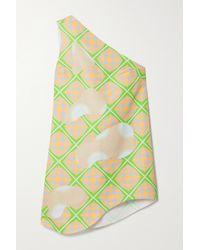 Maisie Wilen Bam Bam Minikleid Aus Bedrucktem Shell Mit Applikationen Und Asymmetrischer Schulterpartie - Grün
