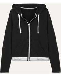 Calvin Klein Cotton-blend Jersey Hoodie - Black