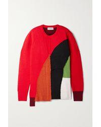 Preen By Thornton Bregazzi Patchwork-pullover Aus Einer Wollmischung - Rot