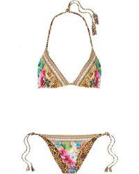 Camilla Reversible Embellished Printed Triangle Bikini - Yellow