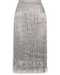 Rachel Zoe - Delliah Fringed Metallic Knitted Skirt - Lyst