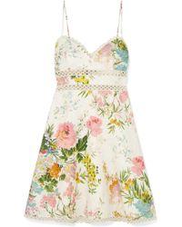 Zimmermann - Heather Lace-trimmed Floral-print Linen Mini Dress - Lyst