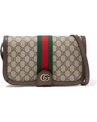 acdfefc2e5d Gucci - Ophidia Textured Leather-trimmed Printed Coated-canvas Shoulder Bag  - Lyst
