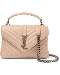 Saint Laurent College Medium Quilted Textured-leather Shoulder Bag - Natural