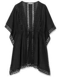 Charo Ruiz Kayla Crocheted Lace-paneled Cotton-blend Kaftan - Black