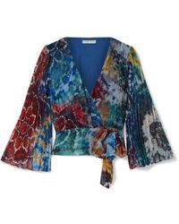 Alice + Olivia Bray Pleated Tie-dyed Silk-georgette Wrap Blouse - Blue