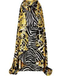 Versace Asymmetric Printed Satin Skirt - Metallic