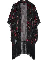Anna Sui - Fringed Floral-print Devoré Chiffon Kimono - Lyst