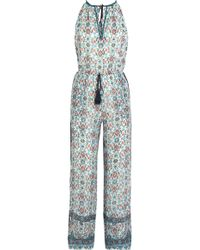 Talitha - Embroidered Printed Silk-georgette Jumpsuit - Lyst