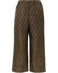 Fendi Pantalon imprimé en crêpe de Chine - Marron