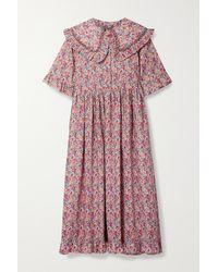 Horror Vacui Martha Belted Ruffled Floral-print Cotton-poplin Midi Dress - Pink