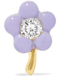 Alison Lou | Tiny Flower 14-karat Gold, Diamond And Enamel Earring | Lyst