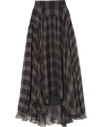 Brunello Cucinelli - Checked Silk-chiffon Maxi Skirt - Lyst