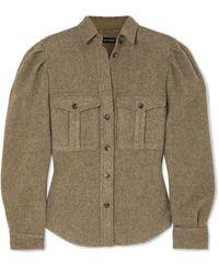 Isabel Marant Florrie Brushed Wool-blend Shirt - Green