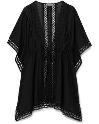 Charo Ruiz - Kayla Crocheted Lace-paneled Cotton-blend Kaftan - Lyst