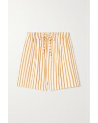 Faithfull The Brand + Net Sustain Sereno Striped Cotton-poplin Shorts - Yellow
