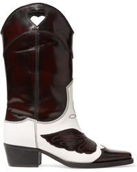 Ganni - Marlyn Two-tone Embroidered Leather Cutout Boots - Lyst