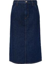 Goldsign - The Flat Front Denim Pencil Skirt - Lyst