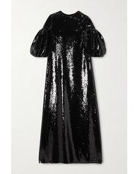 Huishan Zhang Robe Longue En Georgette À Sequins Celine - Noir