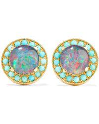 Andrea Fohrman - Kat 18-karat Gold, Opal And Turquoise Earrings - Lyst