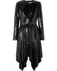 MICHAEL Michael Kors Asymmetric Belted Sequined Georgette Dress - Black