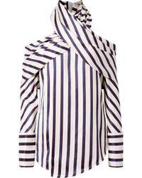 Monse - Asymmetric Striped Twill Blouse - Lyst