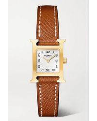 Hermès Heure H 17,2 Mm Sehr Kleine Vergoldete Uhr Mit Armband Aus Strukturiertem Leder - Braun