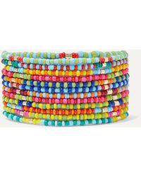 Roxanne Assoulin Patchwork Set Aus 12 Armbändern Aus Zierperlen Mit Goldfarbenen Details - Pink