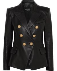 Balmain - Double-breasted Leather Blazer - Lyst