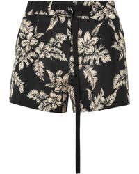 Moncler - Floral-print Silk-georgette Shorts - Lyst