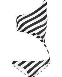 Norma Kamali | Shane One-shoulder Cutout Striped Swimsuit | Lyst