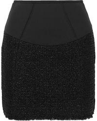 Alexander Wang - Velvet-trimmed Tweed And Scuba Mini Skirt - Lyst