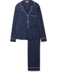 Eberjey Sleep Chic Pyjama Aus Stretch-modal Mit Punkten - Blau