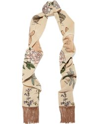 Silken Favours - Fringed Printed Silk-crepe Scarf - Lyst