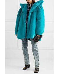 Balenciaga Oversized Faux Fur Jacket - Blue