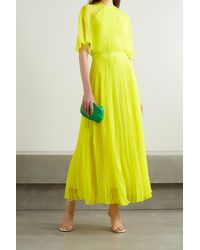 Brandon Maxwell Pleated Neon Silk-chiffon Maxi Dress - Yellow