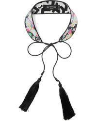 Etro - Tasseled Printed Silk Choker - Lyst