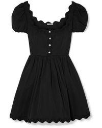 Miu Miu - Scalloped Crystal-embellished Cotton-poplin Mini Dress - Lyst