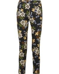 Erdem - Sidney Floral-print Stretch-cotton Twill Slim-leg Trousers - Lyst