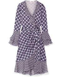 Diane von Furstenberg - Ruffled Printed Silk-crepe And Chiffon Wrap Dress - Lyst