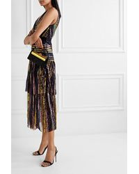 Self-Portrait Grosgrain-trimmed Tiered Striped Sequined Tulle Midi Dress - Black