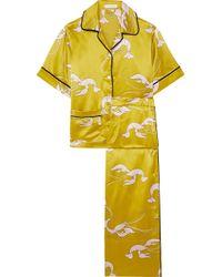Olivia Von Halle - Daria Printed Silk-satin Pajama Set - Lyst