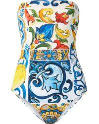 Dolce & Gabbana - Majolica Printed Strapless Swimsuit - Lyst