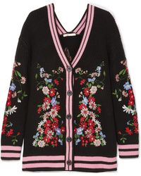 Maje - Madene Embroidered Chunky-knit Cardigan - Lyst