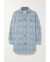 Munthe Edmond Oversized Checked Brushed-flannel Jacket - Blue