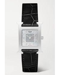 Hermès Heure H 26 Mm Uhr Aus Edelstahl Mit Diamanten, Perlmutt Und Alligatorlederarmband - Schwarz