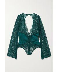 Coco De Mer Titania Satin-trimmed Stretch-lace Thong Bodysuit - Blue