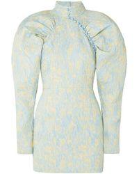 ROTATE BIRGER CHRISTENSEN Button-detailed Ruched Crinkled-jacquard Mini Dress - Blue