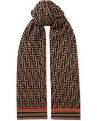 Fendi Printed Cashmere And Wool-blend Scarf - Brown