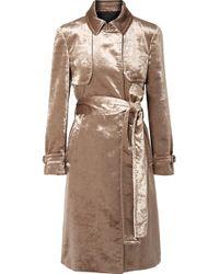 Brunello Cucinelli - Cotton-blend Velvet Trench Coat - Lyst